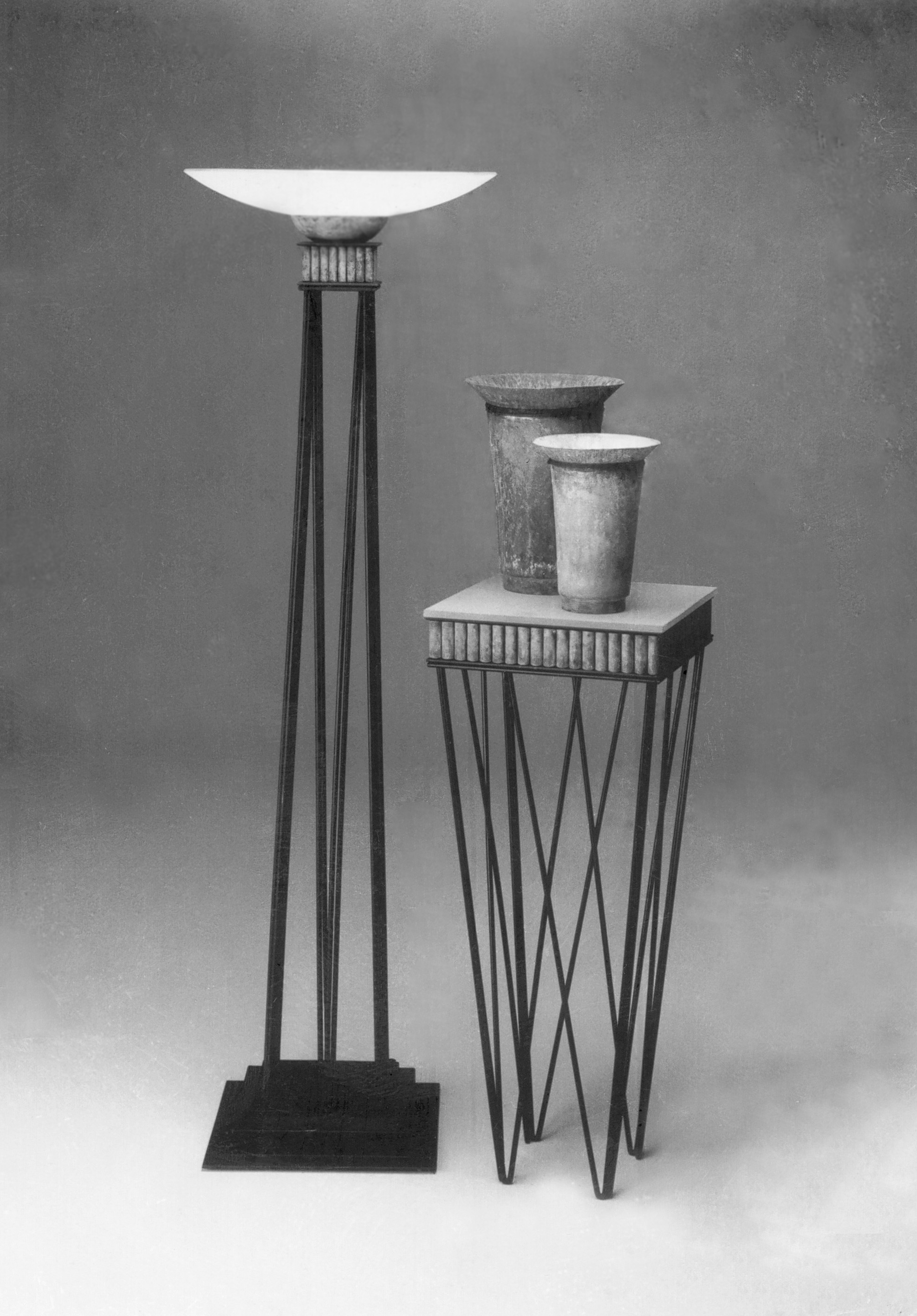 Floor lamp, pedestal and True vase forms