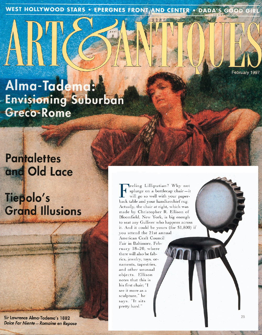 "Bottle Cap Chair feature in ""Art and Antiques"" magazine"
