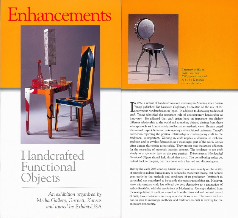 """Enhancements, Handcrafted Functional Objects."" Traveling exhibition"